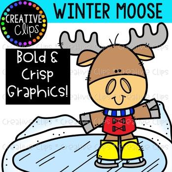 Winter Moose Clipart {Winter Clipart}