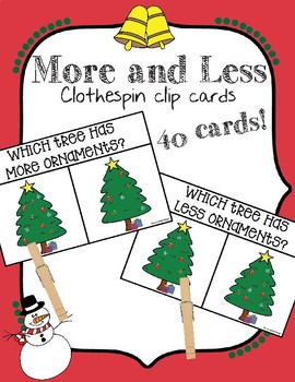 Winter More and Less Clothespin Clip Cards-Christmas-Christmas Tree