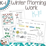 Winter Morning Work Kindergarten & 1st Grade - No Prep