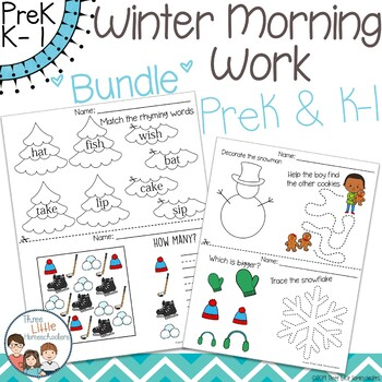 Winter Morning Work PreK & Kindergarten - 1st grade Bundle - No Prep