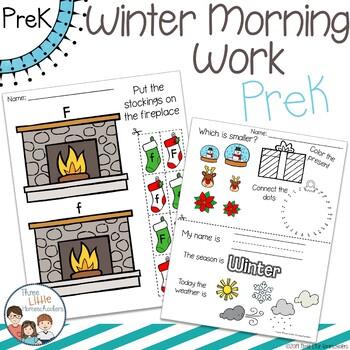 Winter Morning Work PreK Preschool - No Prep