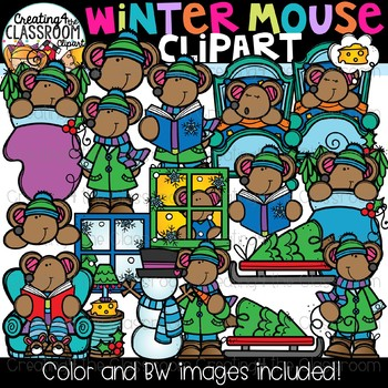 Winter Mouse Clipart {Winter Clipart}