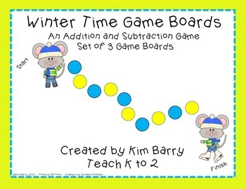 Game Boards - Addition and Subtraction Practice - Winter Mouse Edition