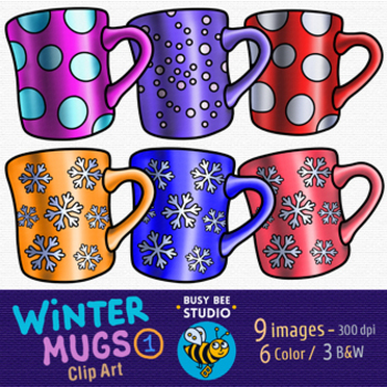 Winter Mugs Clip Art Set 1
