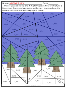Winter Multi-Digit Multiplication and Division Mystery Pictures