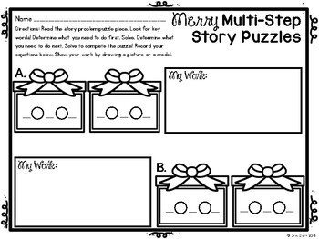 Winter Multi-Step Problem Solving Math Center