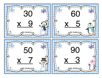 Winter Multiplication (1 Digit x Multiples of Ten CCSS 4.NBT.3) Task Cards