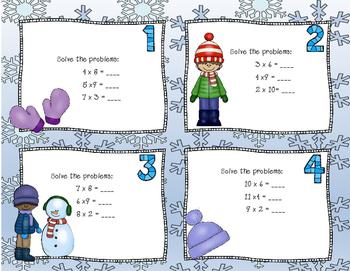 Winter Multiplication Task Cards