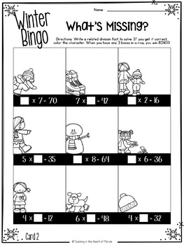 Winter Multiplication Bingo