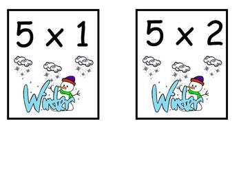 Winter Multiplication Bingo- 5s FREE