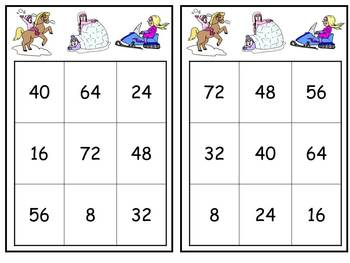 Winter Multiplication Bingo- 6s 7s 8s