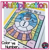 Winter Multiplication Facts Color By Number Worksheets