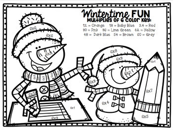 Winter Multiplication Color-By-Number Bundle