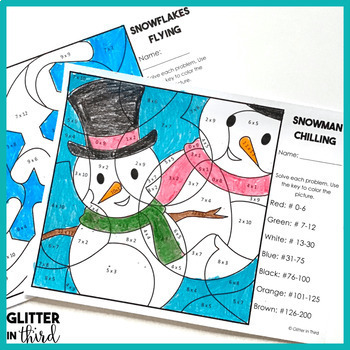 winter multiplication color by number free by glitter in third