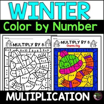 Winter Multiplication Color by Number- 2's to 12's