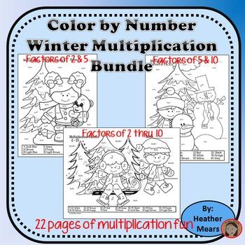 Winter Multiplication Color by Number Bundle
