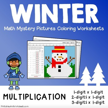 Winter Math Multiplication, Winter Multiplication Color by Number Worksheets