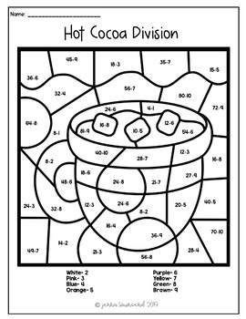 Winter Multiplication Division Color by Number