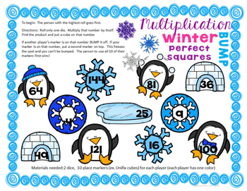 Winter Multiplication Facts Game - Multiplication Bump x2-x12 & Perfect Squares