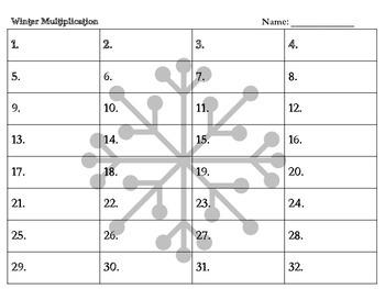 Winter Multiplication Game Intermediate 2-Digit by 1 Digit
