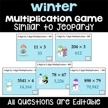 Winter Multiplication Game - Similar to Jeopardy