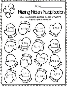 Winter Multiplication Games 4 digits by 1 digit