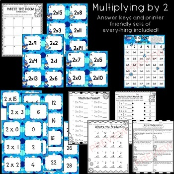 Winter Multiplication Games/Activities/Worksheets (Multiply by 2, 5, & 10)