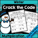 Winter Multiplication Practice - Crack the Math Code | Pri