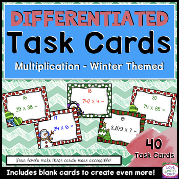 Holiday Math Multiplication Task Cards