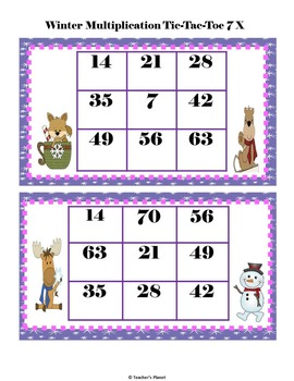 Multiplication Games - Winter Multiplication Tic-Tac-Toe!