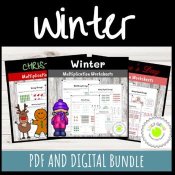 Winter Multiplication Worksheet BUNDLE