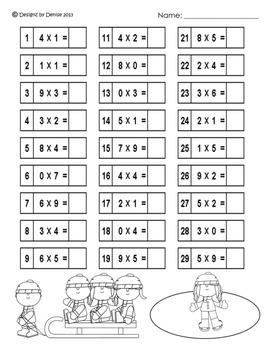 Winter Multiplication Worksheet Packet