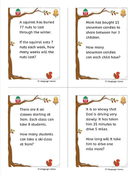 Winter Multiplication and Division Word Problem Task Cards