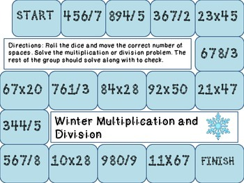 Winter Multiplication and Division Gameboard