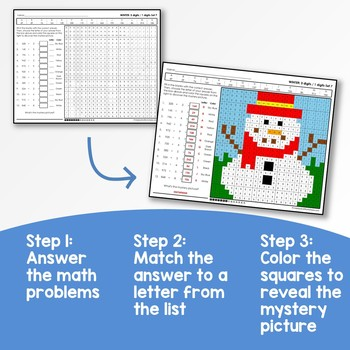 Winter Multiplication and Division Mystery Pictures