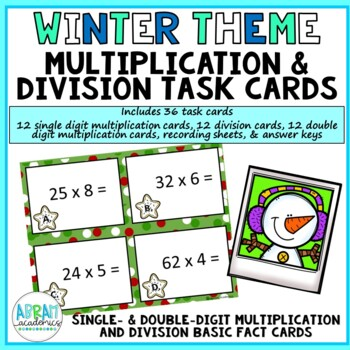 Winter Multiplication and Division Task Cards - Scoot Game