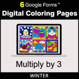 Winter: Multiply by 3 - Google Forms | Digital Coloring Pages