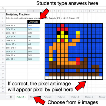 Winter - Multiplying Fractions - Google Sheets Pixel Art