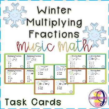 Winter Multiplying Fractions Task Cards