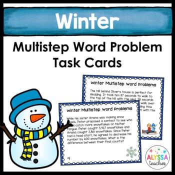 Winter Multistep Word Problem Task Cards (Grade 4)