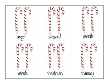 Winter Multisyllabic Words Flashcards with Candy Canes! *1, 2, and 3 syllables!*