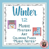 Winter Music Coloring Sheets: 12 Music Coloring Pages: Music Mystery Art