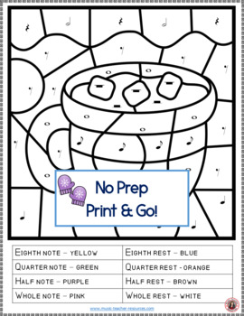 Music Coloring Sheets: 26 Winter Color by Notes and Rests Pages | TpT
