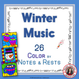 Winer Music Coloring Sheets: 26 Winter Color by Music Notes and Rests Pages