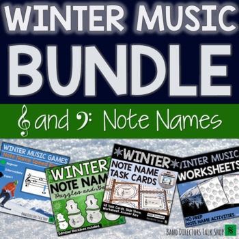 Winter Music Activities BUNDLE- Note Name Games & Winter Music Lessons