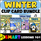 Winter Music Activity Bundle: Clip Cards: Notes Rhythm Symbols Tempo Dynamics