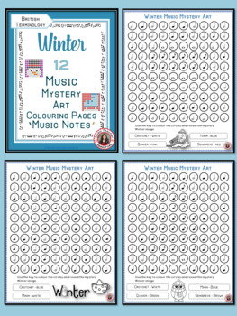Winter Music Colouring Sheets: 12 Music Colouring Pages: Music Mystery Art