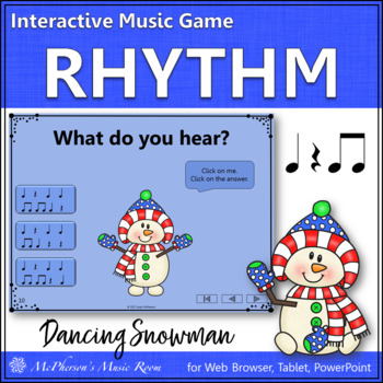 Winter Music Game: Eighth Notes Interactive Rhythm Game {Dancing Snowman}