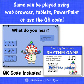 Winter Music Game: Eighth and Quarter Interactive Rhythm Game {Dancing Snowman}