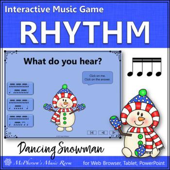 Winter Music Game: Sixteenth Notes Interactive Rhythm Game {Dancing Snowman}